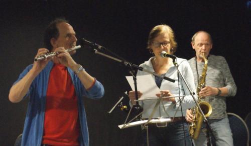 Lucas (fluit) , Sylvia en René (sax)
